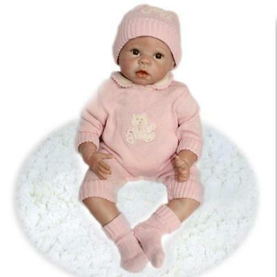 """22"""" Cute Reborn Realistic Baby Girl Doll Soft Silicone Sweater Jumpsuit Vivid uk"""