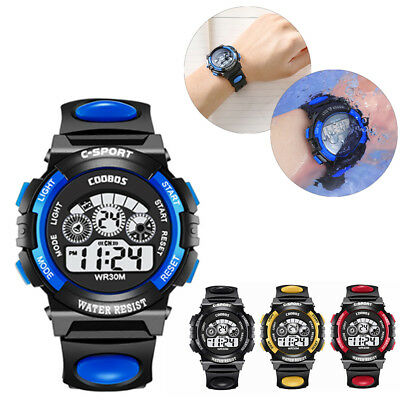 Waterproof Boys Girls Kids Sports Watch LED Digital Alarm Wristwatch As Gift Hot