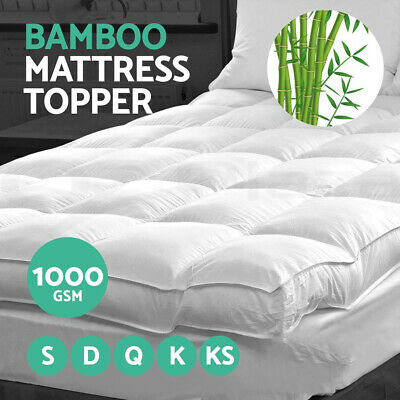 Giselle Bedding Bamboo Pillowtop Mattress Topper Fibre 1000GSM Pad Cover Protect