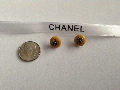 2 CHANEL 10mm  Authentic Replacement Tan Buttons Classic CC Logo
