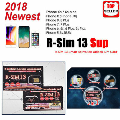 2018 NEWEST RSIM R-SIM 13 SUP Unlock Card For iPhone XS MAX 4G LTE ios11 12 UK%%
