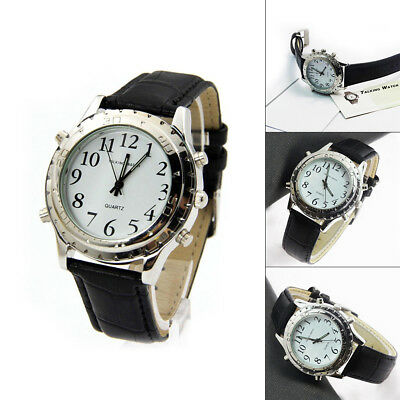 New Digital English Talking Watch Leather Strap For Blind Person or the Older ET