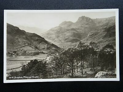 Cumbria The Lake District LANGDALE PIKES & BOWFELL - Old RP Postcard