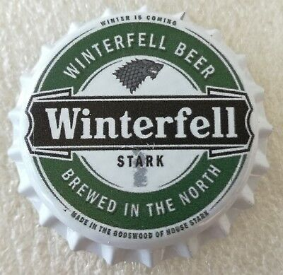 Fantasy Novelty Uncrimped Beer Bottle Cap Winterfell House Stark Game of Thrones