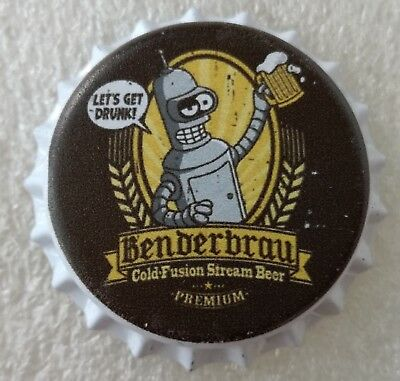 Fantasy Novelty Uncrimped Beer Bottle Cap Benderbräu Bender Robot Futurama