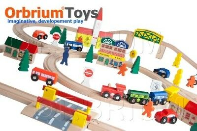 100-Piece Orbrium Toys Triple-Loop Wooden Train Set Fits Thomas Brio Chuggington