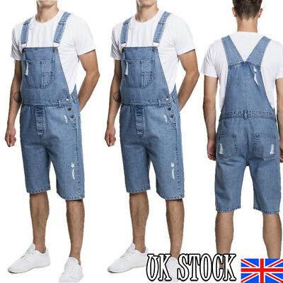 UK Mens Denim Jeans Knee Length Work Wear Casual Trouser Pants Overall Dungarees