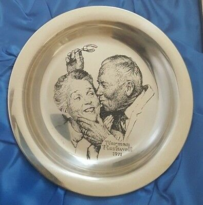 1971 Norman Rockwell Silver Plate, Under the Mistletoe, Unopened plastic wrap