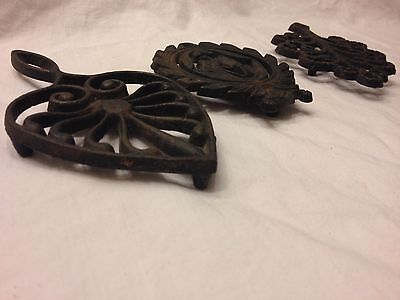 Three Vintage Cast Iron Trivets, Made In Japan