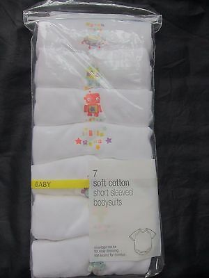 New Marks & Spencer Baby Boys White Bodysuits Vests x 7 Up to 3 Months