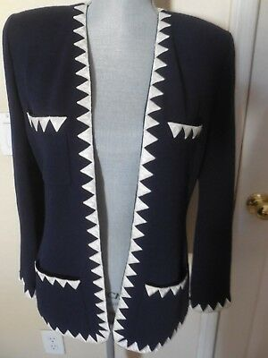 St. John Collection by Marie Gray Knit Blazer Jacket Navy/ Cream S