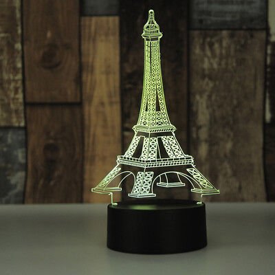 3D LED illusion Eiffel Tower 7 Color table Night Light Lamp Bedroom Child Gift