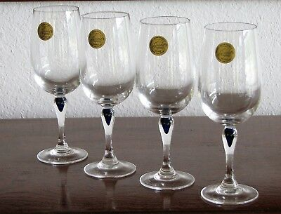 Cris D'Arques Durand VENISE SAPHIR Blue Teardrop Stem Wine Glasses - Set of 4