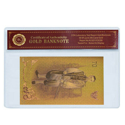 WR Thailand 70 Baht Color Gold Banknote 70th Years Reign of King Bhumibol Rama 9
