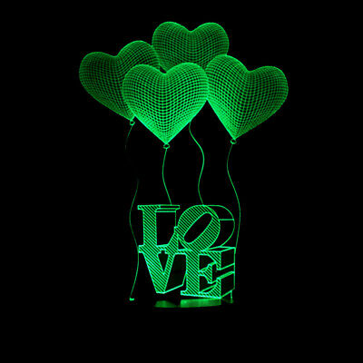 3D LED illusion LOVE Heart 7 Color USB Table Night Light Lamp Bedroom Child Gift