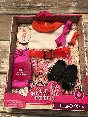"""Our Generation Retro Neat-O Knit Outfit Set 18"""" Clothes New in Box Free Ship"""