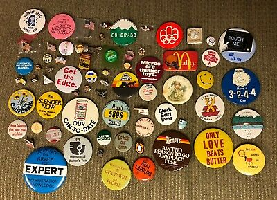 Lot of 68 Collectible Pinbacks Pins Buttons