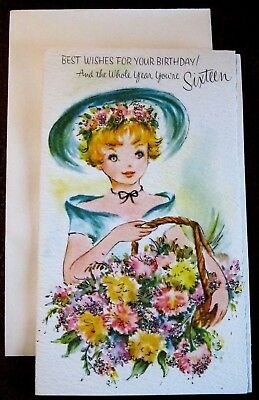 Vintage 16th Birthday Card UNUSED Teen Girl Teal Dress Bonnet Glitter Flowers