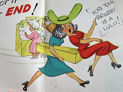 Vintage Birthday Card UNUSED MCM Funny Lady In Dress Shopping Fight Over Cards