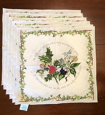 Set 6 Vintage Portmeirion Holly & Ivy 100% Cotton Christmas Napkins MADE-BRITAIN