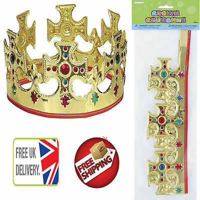 Novelty Majestic King Queen Crown Gold Plastic Kids Childrens Dressing Up Toys