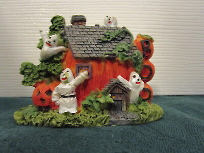 Halloween Miniature Haunted Pumpkin Ghost  House CERAMIC WORLD INC.