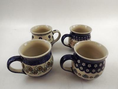 Assorted Hand-Painted Polish Pottery Pot-Belly Style Coffee/Tea Mugs (4)