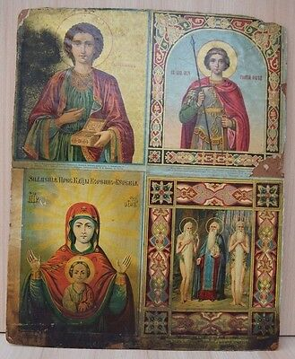 Antique Collectible Authentic Russian Church Christian Lithography Print Paneau