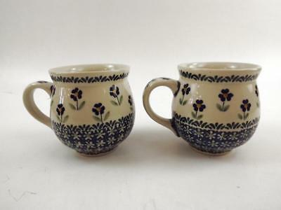 Polish Pottery Pot-Belly Style Coffee/Tea Mugs Hand-Painted Blue Flowers (2) NEW