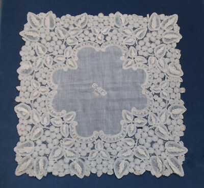 Beautiful Antique Lace Hankerchief - Brussels Duchesse Bobbin Lace - Dated 1889