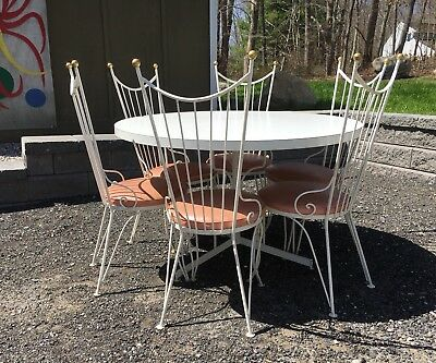 Vintage 1950s HOLLYWOOD REGENCY dining Set W/ 6 Chairs PINK  dinette mcm PATIO