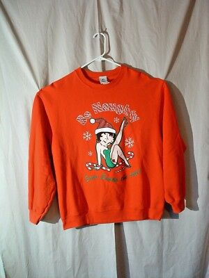 "Betty Boop, Christmas Sweatshirt, L, ""be Naughty, Save Santa The Trip"", Red"