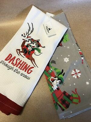 Disney Parks 2018 Mickey Minnie Christmas Holiday Kitchen Towels Set