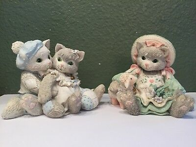 Pair CALICO KITTENS BLOSSOMS OF FRIENDSHIP #623555 Purr-fect Love 623539