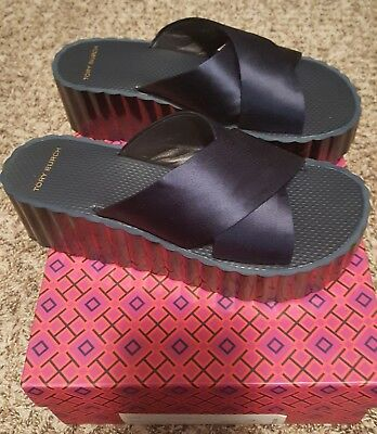 8abeab2e3 AUTHENTIC TORY BURCH Scallop Wedge Flip Flop Satin