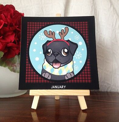 """Black Pug 3""""x 3"""" 12 Month Perpetual Picture Calender on Wooden Easel Gift"""