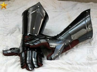 Medieval Knight Gauntlets Functional Armor Gloves Leather Steel SCA LARP GV2