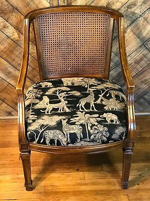 Chair with Jungle / Tropical Style Print and Wicker Back