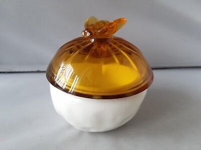 Vintage Jar Glass Cream Lotion Powder Candy Dish With Lid Collectible & Basket