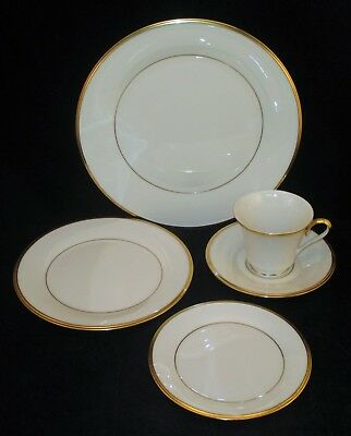 LENOX 5 Pc Place Setting Dinner Plate Salad Bread Cup & Saucer ETERNAL Pattern