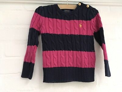 Red Polo Ralph Lauren cotton stripped cable knit sweater jumper 3 years old