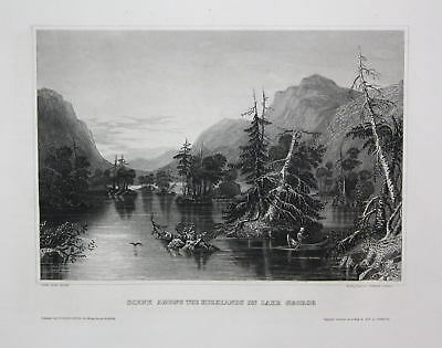 Lake George New York NY Amerika America USA Stahlstich antique print 1840