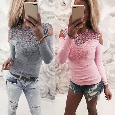 Sexy Womens Long Sleeve Blouse Lace Slim Leaking Shoulders Sweatshirt Pullover