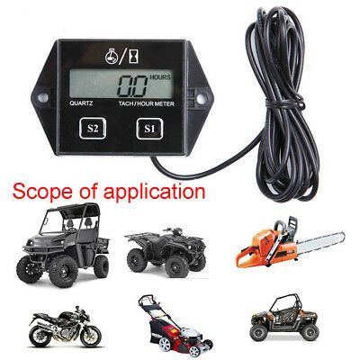 Digital Tach Tachometer Hour Meter Gauge Engine Spark Inductive Motorcycle SP201