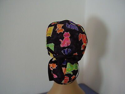 Surgical Ponytail Scrub Hat  Cap - Kitty Cats