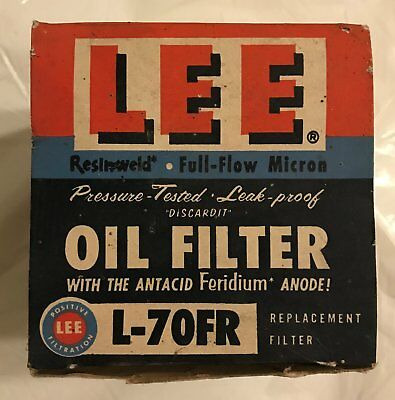 NOS Lee L-70FR Oil Filter in Original Box 1960