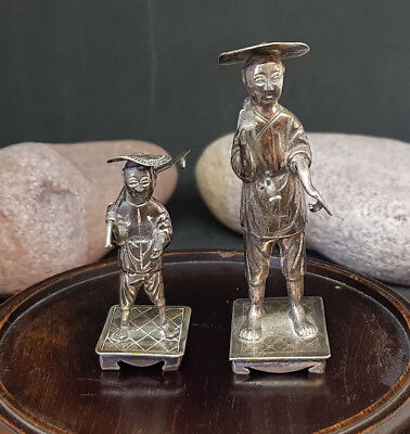 1900'S Solid Silver Chinese Export Wang Hing Two Men