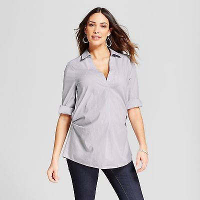 NEW! Maternity  by Ingrid & Isabel Striped Pleated Popover- Gray - Size M