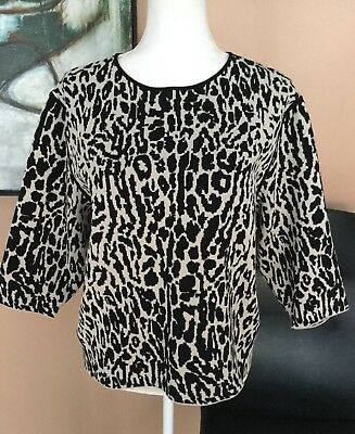 Ann Taylor A New Black / Off White Knit Print Top / Sweater 100% Wool  Size M