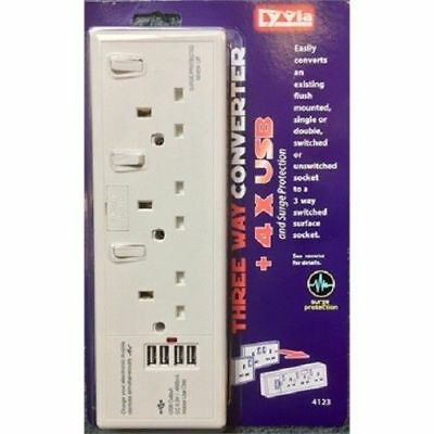 3Way Switched Fused 13Amp + 4USB Converter Socket 1 or 2 Gang Sockets to 4Gang